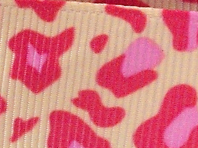 Grosgrain Ribbon x 3 Metres Pink Leopard Print Pattern