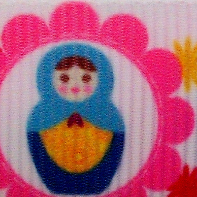 Grosgrain Ribbon x 3 Metres - Pink & Red Russian Dolls