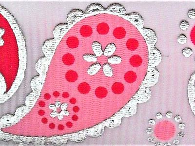 Grosgrain Ribbon x 3 Metres Pink & Silver Paisley Pattern