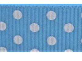 Grosgrain Ribbon x 3 Metres Polka Dots: Blue & White
