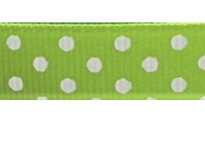 Grosgrain Ribbon x 3 Metres Polka Dots: Green & White