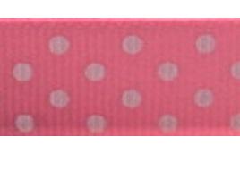 Grosgrain Ribbon x 3 Metres Polka Dots: Pink & White