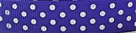 Grosgrain Ribbon x 3 Metres Polka Dots: Purple & White