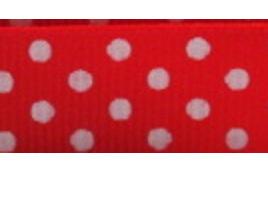 Grosgrain Ribbon x 3 Metres Polka Dots: Red & White
