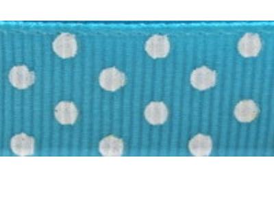 Grosgrain Ribbon x 3 Metres Polka Dots Turquoise & White