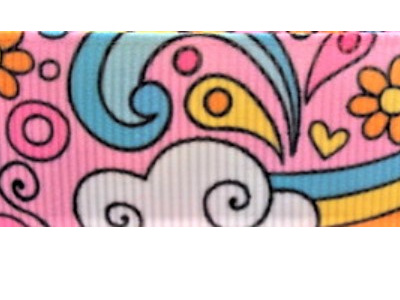 Grosgrain Ribbon x 3 Metres Psychedelic Pink Flowers and Rainbows