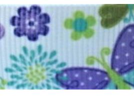 Grosgrain Ribbon x 3 Metres Purple and Aqua Butterflies