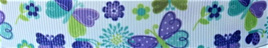 Grosgrain Ribbon x 3 Metres Purple and Aqua Butterflies