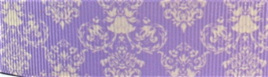 Grosgrain Ribbon x 3 Metres Purple Damask Pattern