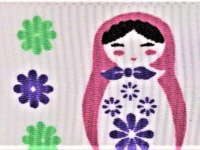 Grosgrain Ribbon x 3 Metres Purple & Green Russian Dolls