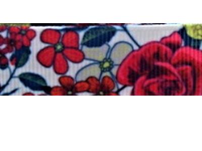 Grosgrain Ribbon x 3 Metres Red Flowers