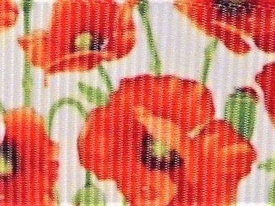 Grosgrain Ribbon x 3 Metres Red Poppies