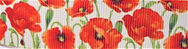 Grosgrain Ribbon x 3 Metres Red Poppies