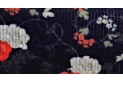Grosgrain Ribbon x 3 Metres Red & White Flowers on Black Background