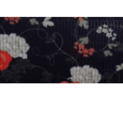GRosgrain Ribbon x 3 Metres - Red & White Flowers on Black Background