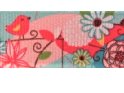Grosgrain Ribbon x 3 Metres Retro Birds and Flowers