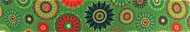 Grosgrain Ribbon x 3 Metres Retro Green Flowers