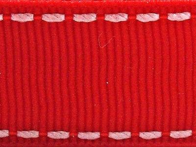 Grosgrain Ribbon x 3 Metres Saddlestitch Pattern: Red