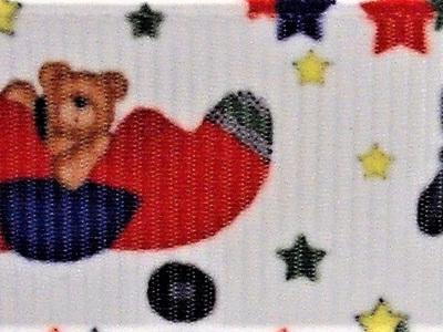 Grosgrain Ribbon x 3 Metres Teddy in a Plane