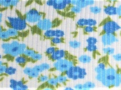 Grosgrain Ribbon x 3 Metres Tiny Green & Aqua Blue Flowers