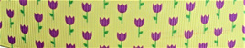Grosgrain Ribbon x 3 Metres Tiny Tulips: Purple on Lemon Background