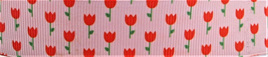 Grosgrain Ribbon x 3 Metres Tiny Tulips: Red on Pink Background