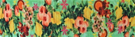 Grosgrain Ribbon x 3 Metres Victorian-Style Flowers on Green Background