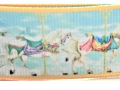 Grosgrain Ribbon x 3 Metres Vintage Carousel Horses: Blue
