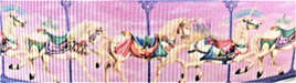 Grosgrain Ribbon x 3 Metres Vintage Carousel Horses: Purple