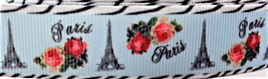 Grosgrain Ribbon x 3 Metres Vintage Eiffel Tower and Shabby Roses