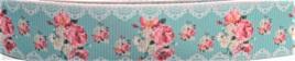 Grosgrain Ribbon x 3 Metres Vintage Floral Lace Pattern: Green