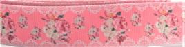 Grosgrain Ribbon x 3 Metres Vintage Floral Lace Pattern: Pink