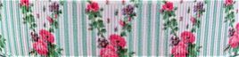 Grosgrain Ribbon x 3 Metres Vintage Flowers and Mint Stripes