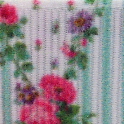 Grosgrain Ribbon x 3 Metres - Vintage Flowers with Mint Stripe