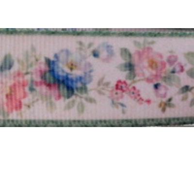 Grosgrain Ribbon x 3 Metres - Vintage Flowers with Sage Green Border