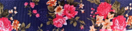 Grosgrain Ribbon x 3 Metres Vintage Pink Flowers on Dark Blue Background