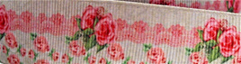 Grosgrain Ribbon x 3 Metres Vintage Pink Roses with Border