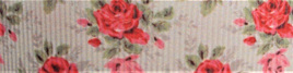 Grosgrain Ribbon x 3 Metres Vintage Red Roses on Off-White Background