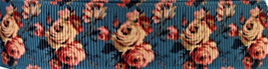 Grosgrain Ribbon x 3 Metres Vintage Roses on Prussian Blue Background