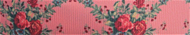 Grosgrain Ribbon x 3 Metres Vintage Roses on Salmon Pink Background
