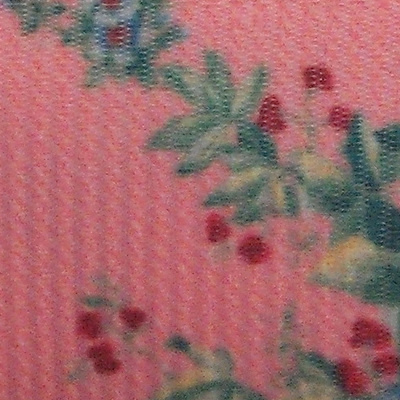 Grosgrain Ribbon x 3 Metres - Vintage Roses on Salmon Pink Background