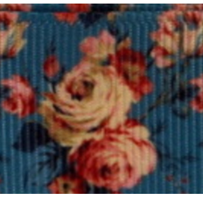 Grosgrain Ribbon x 3 Metres - Vintage Roses on Victoriana Blue Background