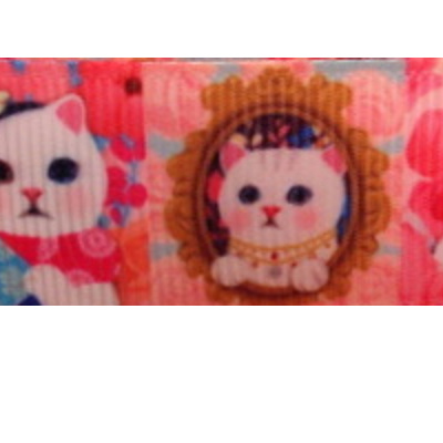 Grosgrain Ribbon x 3 Metres - White Cats on Pink Background