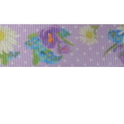 Grosgrain Ribbon x 3 Metres - White Daisies & Polka Dots on Lilac Background