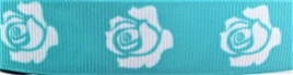 Grosgrain Ribbon x 3 Metres White Roses on Green Background CLEARANCE