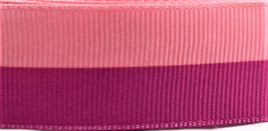 Grosgrain Ribbon x 3 Metres Wide Stripes: Magenta & Pink