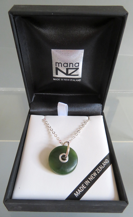 GS1023B New Zealand Greenstone doughnut necklace.
