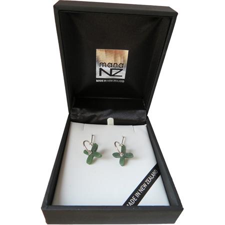 GS1090 New Zealand Greenstone Tapa Hoop sterling silver earrings