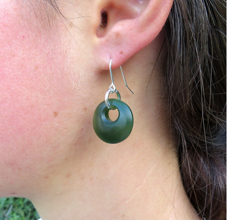 GS1094 Satin finish greenstone earrings