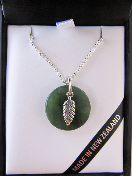 GS1101 Round greenstone pendant (1.9cm) with sterling silver fern.